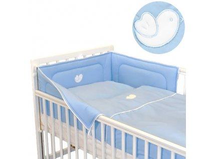 Babyrenka povlečení do postýlky třídílné 40x60, 90x130 cm Bird sky blue bílý lem