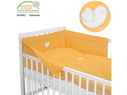 Babyrenka povlečení do postýlky třídílné 40x60,90x130 cm Bird orange