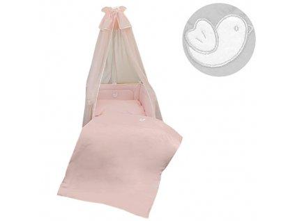 Babyrenka povlečení do postýlky čtyřdílná sada 40x60, 90x130 cm Bird pink Bílý lem