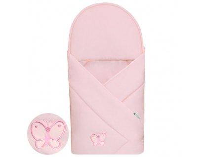 Babyrenka zavinovačka 90x90 Uni pink s výšivkou