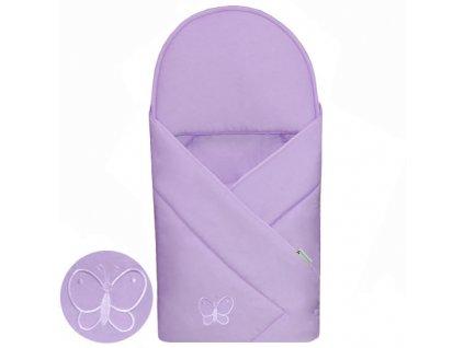 Babyrenka zavinovačka 90x90 Uni violet s výšivkou