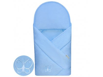 Babyrenka zavinovačka 90x90 Uni sky blue s výšivkou
