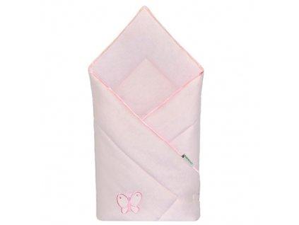 Babyrenka zavinovačka 80x80 Uni pink s výšivkou