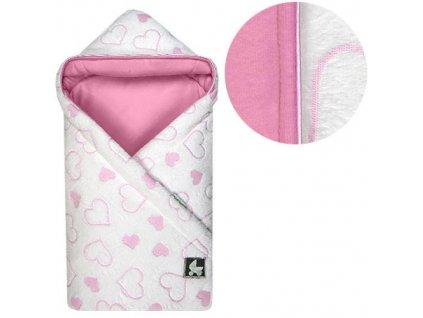 Babyrenka zavinovačka 85x85 s kapucí Srdíčka pink R85SP350