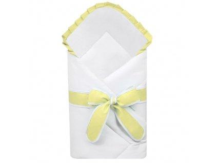 Babyrenka zavinovačka 80x80 cm Basic bílá s mašlí Uni yellow