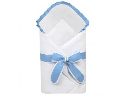 Babyrenka zavinovačka 80x80 cm Basic bílá s mašlí Uni sky blue