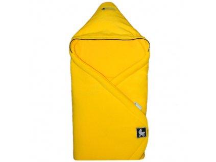 Babyrenka Zavinovačka 85x85 s kapucí Fleece tmavě žlutá