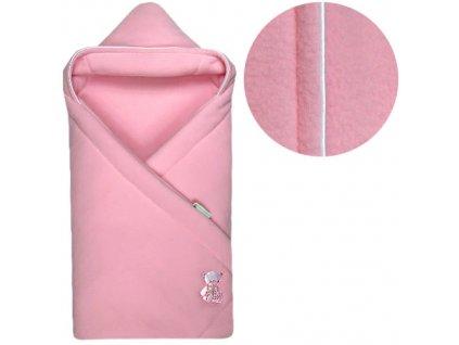 Babyrenka zavinovačka 85x85 s kapucí Fleece růžová