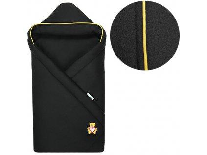Babyrenka zavinovačka 85x85 s kapucí Fleece černá