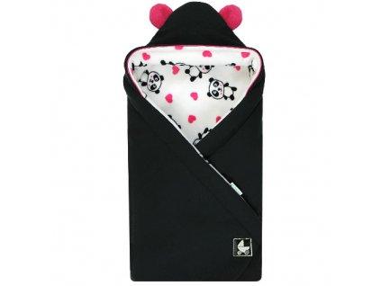 Babyrenka Zavinovačka 85x85 cm s kapucí Panda černá