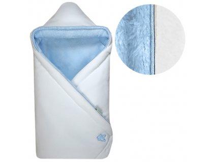 Babyrenka zavinovačka 85x85 s kapucí Polar bílá modrá