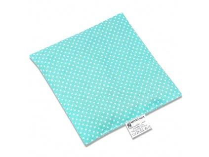 Babyrenka nahřívací polštářek 15x15 cm z třešňových pecek Dots tyrkys