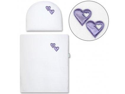 Babyrenka peřinky do kočárku Fleece bílé s výplní aplikace violet