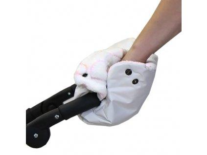 Babyrenka rukávník zateplení rukojeti bílé Srdíčka