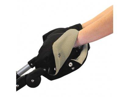 Babyrenka rukávník zateplení rukojeti na kočárky černá béžová