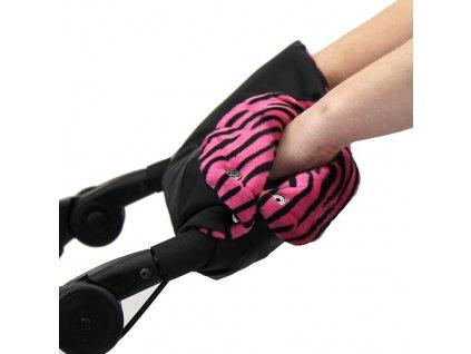 Babyrenka zateplení rukojeti Simple černá Tygr růžový