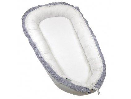 Babyrenka hnízdo bílé s šedou krajkou
