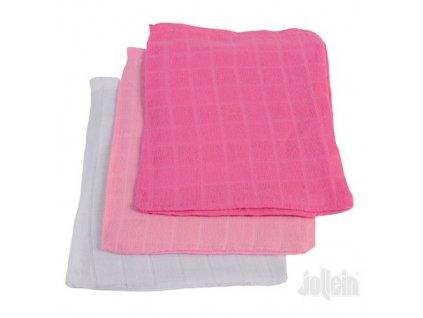 Jollein žínka bavlněná Fuchsia Pink White 3 ks