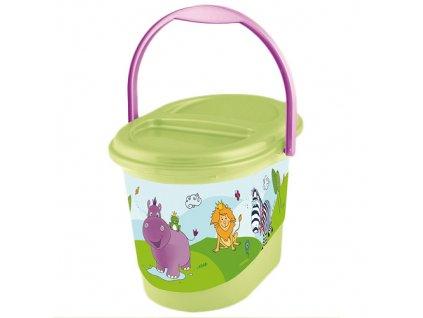 Keeeper kyblík na pleny s víkem Hippo lime
