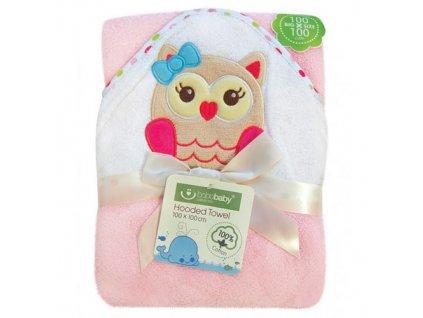Bobobaby ECO osuška s kapucí pink 100x100 sova
