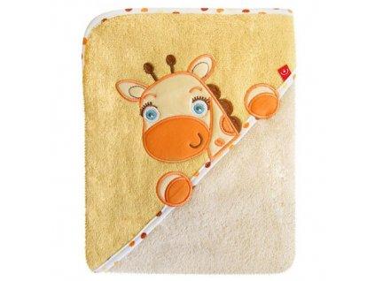 Bobo Baby osuška s kapucí 76x76 cm Žirafa natur
