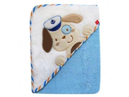 Bobo Baby osuška s kapucí 76x76 cm Pes modrý