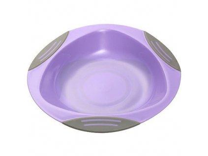 Baby Ono plastový dětský talíř 16 cm s přísavkou fialový