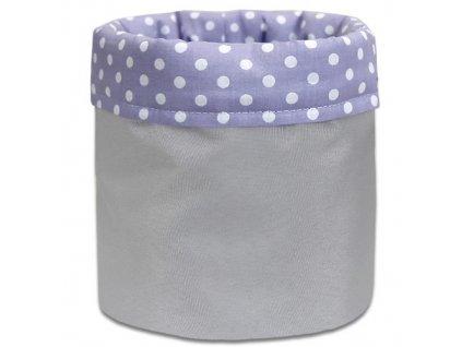 textilni kosik sedy puntik lila