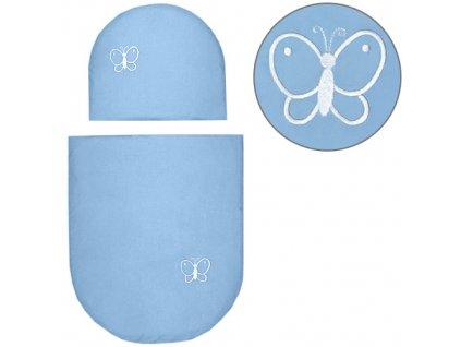 Babyrenka povlečení do kočárku kulaté 35x30,43x52 cm Uni Sky blue s výšivkou 2. jakost