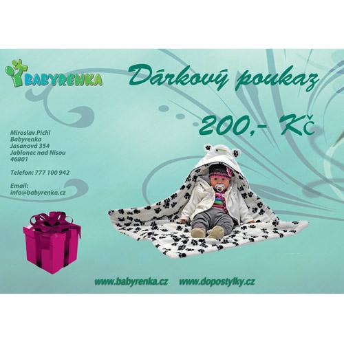 Babyrenka dárkový poukaz 200 Kč DP200