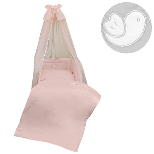 Babyrenka povlečení do postýlky čtyřdílná sada 40x60, 90x130 cm Bird pink Bílý lem 4D3MVU101320