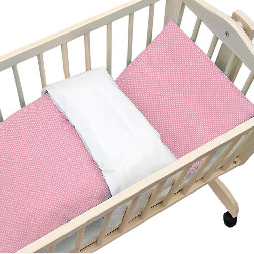 Babyrenka povlečení do kolébky 90x90 cm bílá Dots pink