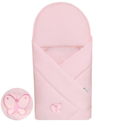 Babyrenka zavinovačka 90x90 Uni pink s výšivkou R9PV100338