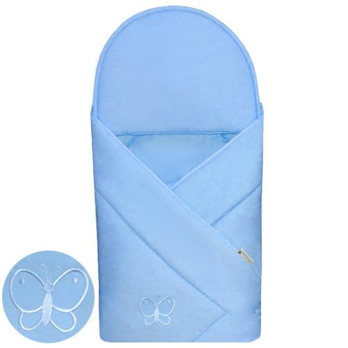 Babyrenka zavinovačka 90x90 Uni sky blue s výšivkou R9PV220338