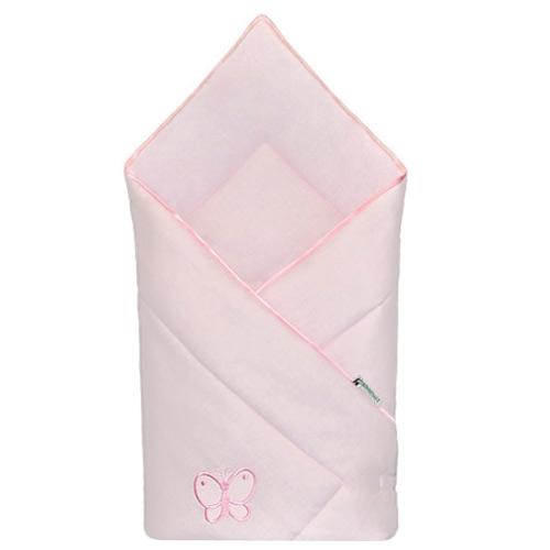 Babyrenka zavinovačka 80x80 Uni pink s výšivkou R8PUV100249