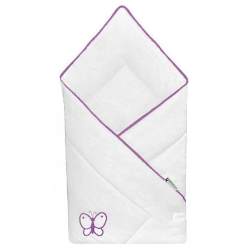 Babyrenka zavinovačka 80x80 Uni bílá výšivka violet R8PUV01710249