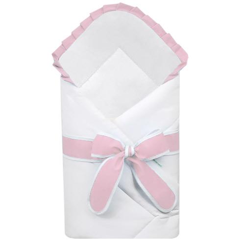Babyrenka zavinovačka 80x80 cm Basic bílá s mašlí Uni pink R8MBBUPI222