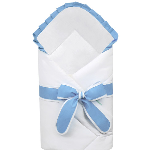 Babyrenka zavinovačka 80x80 cm Basic bílá s mašlí Uni sky blue R8MBBUSB222