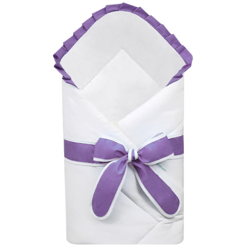 Babyrenka zavinovačka 80x80 cm Basic bílá s mašlí Uni violet