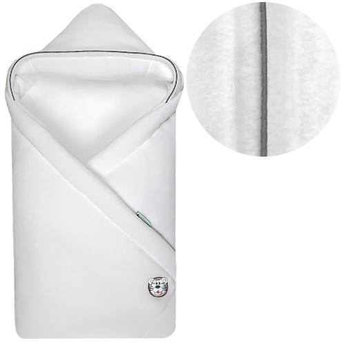 Babyrenka zavinovačka 85x85 s kapucí Fleece bílá lem šedý R85FB272