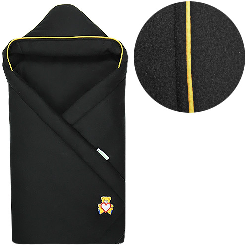 Babyrenka zavinovačka 85x85 s kapucí Fleece černá R85FC272