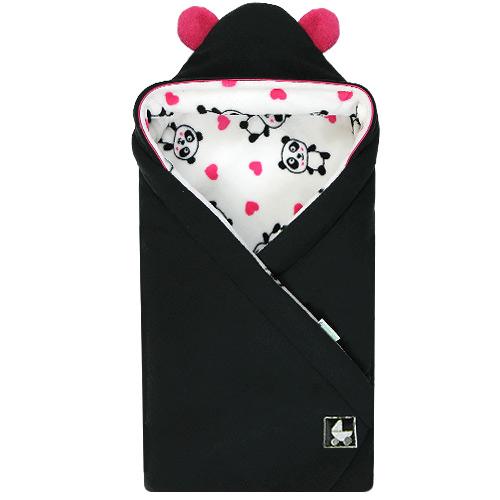 Babyrenka Zavinovačka 85x85 cm s kapucí Panda černá R85PC370