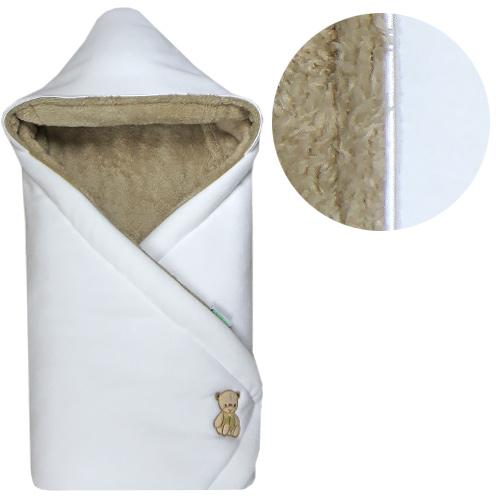 Babyrenka zavinovačka 85x85 s kapucí Polar bílá béžová R85PBB0340