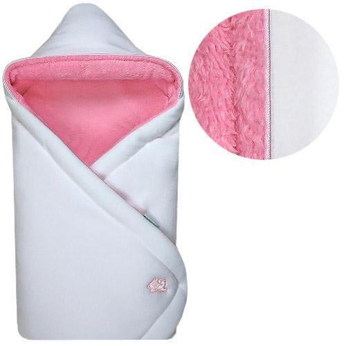 Babyrenka zavinovačka 85x85 s kapucí Polar bílá růžová R85PBR0340