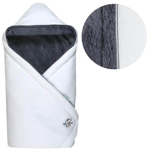 Babyrenka zavinovačka 85x85 s kapucí Polar bílá šedá R85PBS0340