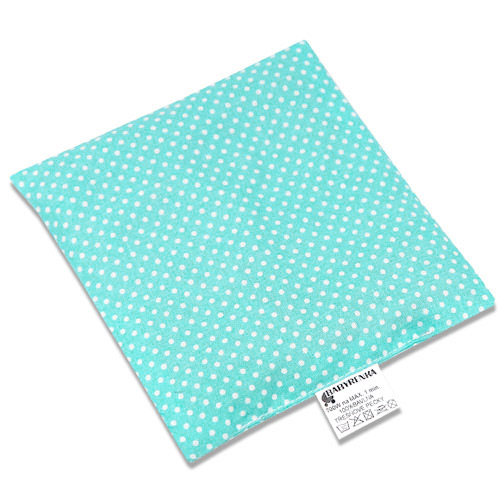 Babyrenka nahřívací polštářek 15x15 cm z třešňových pecek Dots tyrkys PTPDT47
