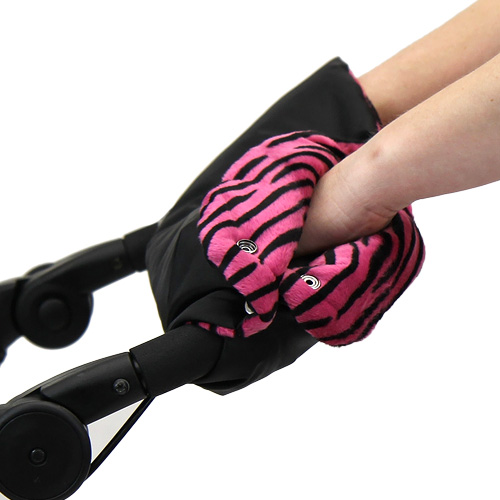 Babyrenka zateplení rukojeti Simple černá Tygr růžový ZRSTR0145