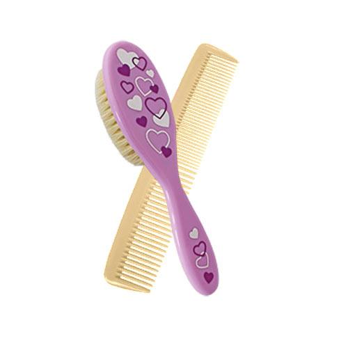 Baby Nova kartáček a hřebínek na vlasy fialový přírodní vlas