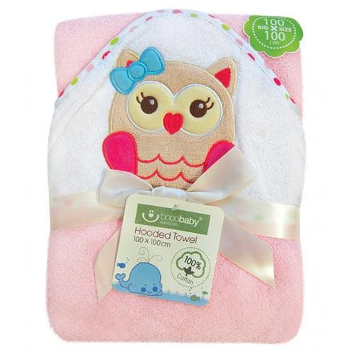 Bobobaby ECO osuška s kapucí pink 100x100 sova PEL-D-sova