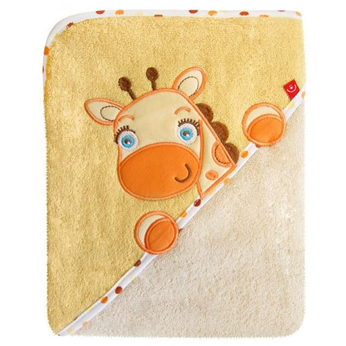 Bobo Baby osuška s kapucí 76x76 cm Žirafa natur OKR-ZN